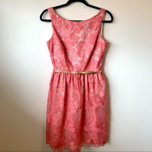 Eliza J Eyelet Lace Dress Coral Floral Embroidery
